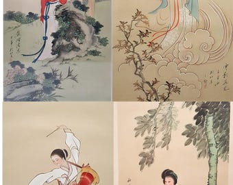 A group of 4 Chinese original watercolor paintings framed