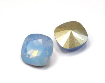 Swarovski 12mm Air Blue Opal Cushion Cut 4470 Crystal