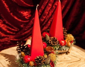 Christmas Red Candle Holder Centrepiece Candle Arrangement Xmas Decor