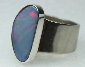 Minimalist Sterling Silver Opal Ring Size: P-7 1/2