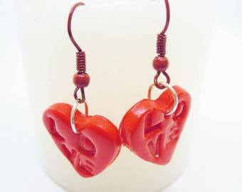 Earrings small red hearts love