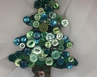 Button Mosaic Christmas Decoration - Christmas Tree