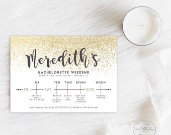 BACHELORETTE INVITE WITH itinerary Gold Bachelorette Party Invite Glitter Itinerary Printed Printable Wedding Weekend Itinerary Timeline