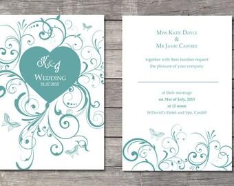 Swirls and butterflies wedding invitation