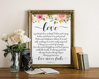 Bible Verse Wall Art, Love is patient, Love is kind, Christian Art, 1 Corinthians 13 : 4-8, Inspirational Art, Watercolor, Bible Verse Print