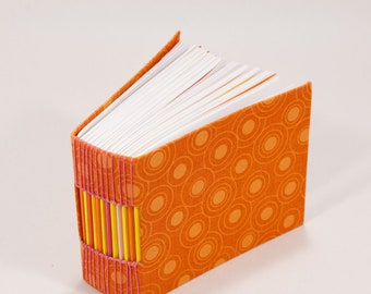365 Day Notebook / A Page A Day Journal / Handbound Diary / Gratitude Journal / Bitty Book for Kids / Bright Orange Fabric Cover