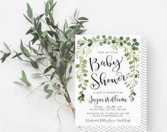 Bohemian Baby Shower, Gender Neutral, Greenery, Minimalist, Calligraphy, Watercolor Greenery, Green, White, 8103