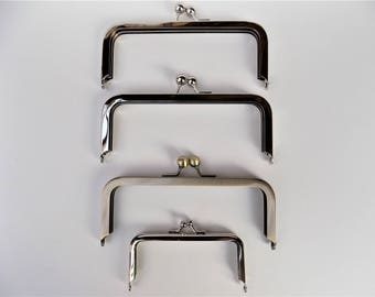 """Metal Purse Frames Set of 4 with  3 Silver 6"""" x 2 1/2"""" & 1 Antique Gold 6"""" x 2 1/2"""" plus 1 Silver 4"""" x 2"""" Frame Kisslock Ball Clasp"""