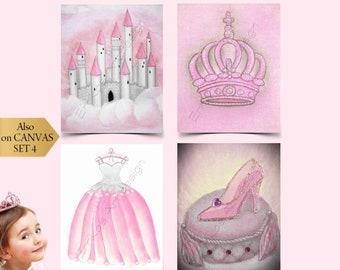 Baby Girl Nursery, Pink Nursery Decor, Princess Nursery, Girls Wall Art, Nursery prints, Kids Decor, Kids wall Art, Princess wall Art