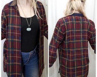 VTG RETRO TOP  ϟ Vintage Button Up Plaid Detailed Collard Blouse + Shirt