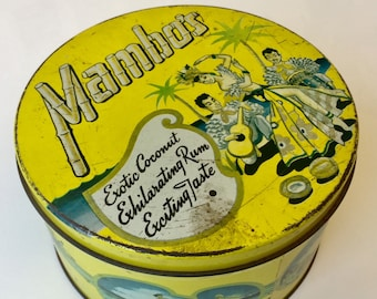 Vintage Mambos Coconut Candy Hawaiian Tin