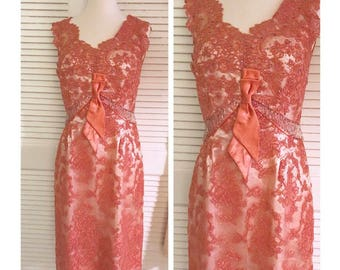 Gorgeous 1950's Lace Dress, Rhinestones & Frills, Larger Size! As Is