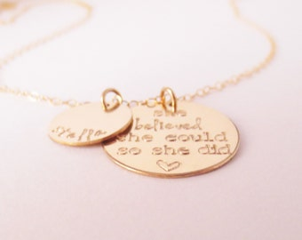 Personalized Gold Disc Necklace, She Believed She Could So She Did, Name Necklace, Encouragement, Inspiration, Graduation