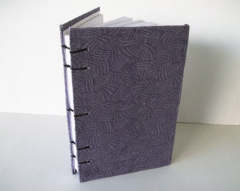Dark Purple Swipes Bullet Journal Fabric Covered Sketchbook Handmade Notebook Coptic Bound Book 100 Pages Hardcover