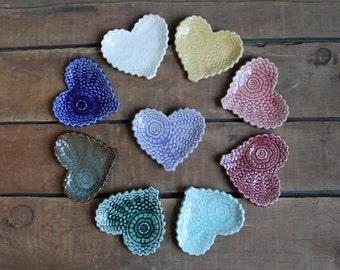 Set of 3 Antique Lace Hearts, Valentines Day Present, Tea Bag Holder, Trinket Dish, Bridal Shower, Wedding Gift, party favor, IN STOCK