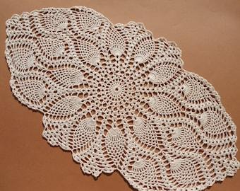 Oval crochet doily, pineapple crochet doily, oval lace doily, ecru doilies, 20  X 11