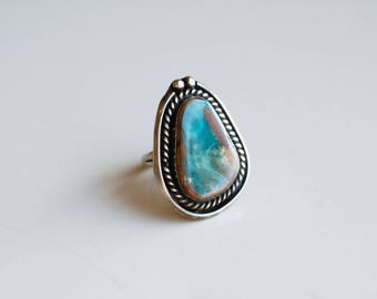 Vintage turquoise sterling big statement ring / Royston turquoise ocean blue green brown / Native silver ring larger size mens unisex 9.5
