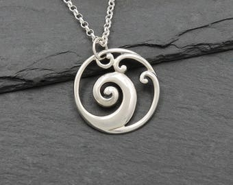 Wave Necklace - Sterling Silver Wave Pendant, surf jewelry, wave jewelry, ocean jewelry, rip curl, beach, Hawaii