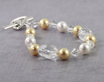 Champagne Gold Pearl Bracelet, Crystal Quartz Jewelry, Winter Wedding, Gold and White, Mother of the Bride, Sterling Silver Toggle Clasp