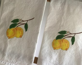 Lemon Kitchen Towel, house decor, Flour Sack Towel, Decorative Towel, Kitchen Decor, fruit decor, hostess gift