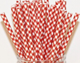 Paper Straws, 25 Red Gingham Paper Straws, MADE IN USA, Red Paper Straws, Gingham Straws, Christmas, Farm Party, Nostalgic,  Country Wedding
