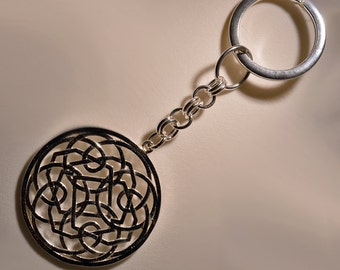 """Silver key chain with """"Rose Window"""""""