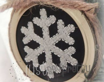 Mason Jar Lid Ornament Snowflake Design