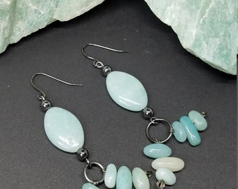 Amazonite Marquise and Pebble Drop Earrings