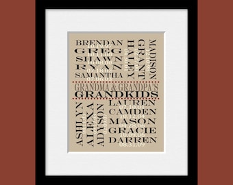 Grandchildren List in Subway Art, Grandparent's Day Gift, Grandparent's Print, Grandparent's Anniversary Gift, Grandparent's Christmas Gift