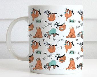 Coffee Mug Cute Sloth Pattern Coffee Cup - Funny Sloth Coffee Mug