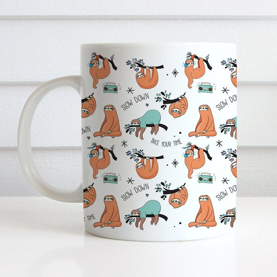 Coffee Mug Cute Sloth Pattern Coffee Cup - Funny Sloth Coffee Mug