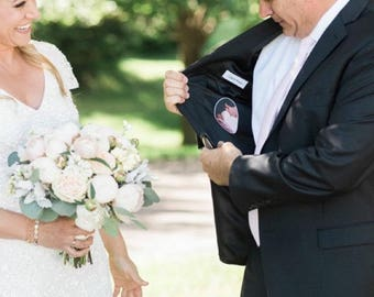 Tie Patch. Father of the Bride Photo Patch. Love Note. Gift for Dad. Necktie Patch. Custom Tie Label. I loved you First. Gift for Stepdad.