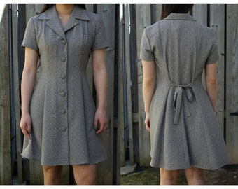 Vintage 80s button up collared taupe patterned dress, girly and feminine style