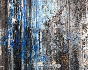 "Gerhard Richter Inspired Blue Painting, Richter Style Abstract Blue Painting on 16"" x 20"" Canvas, Richter Inspired Painting, Blue Painting"