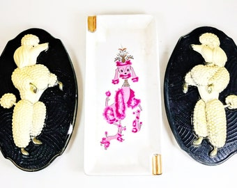 Chalkware Poodles Plaques and Pink Poodle Ashtray.  1950's Kitsch