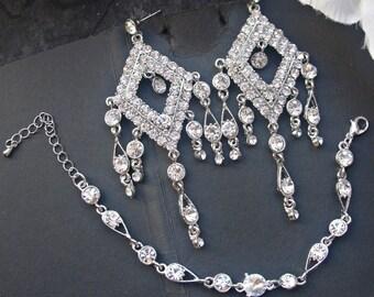 Wedding chandelier earrings bridal rhinestone earrings dangle drop earrings rhinestone bracelet bridal cuff bracelet wedding jewelry set