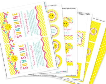 You Are My Sunshine Party Decorations Package PRINTABLE Sunshine First Birthday Party Decor Kit INSTANT DOWNLOAD with Editable Text