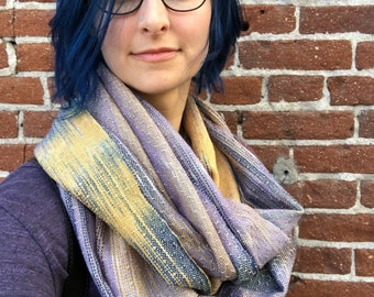 Handwoven and handdyed double loop cowl