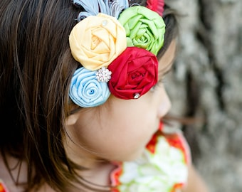 THE CARNIVAL--Red, Lime Green, Bright Yellow, & Baby Blue Flower Headband