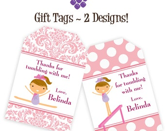 Gymnastic Gift Tags - Pastel Pink Damask and Polka Dots, Girl Gymnast Personalized Birthday Party Gift Tags - A Digital Printable File