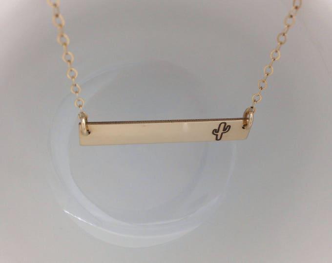 Cactus Horizontal Bar Necklace - Sterling Silver, Gold, or Rose Gold Filled- Custom Back Engraving Options- Summer Boho Inspired