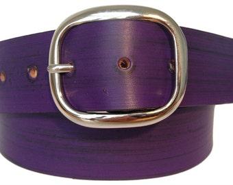Sumptuous Purple Distressed Leather Belt Strap - Full Grain Leather