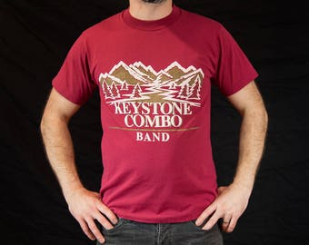 Medium, Vintage, 90s, Keystone Combo Band, Mountains, Outdoors, Tshirt