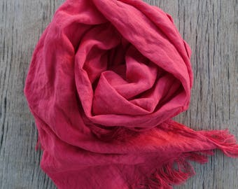 Red linen scarf, linen shawl, rose red color linen shawl, softened linen scarf, long linen scarf, women linen scarf, linen shawl in gift box