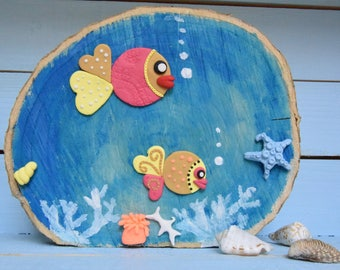 Wooden frame with polymer clay