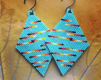 Brickstitch earrings, southwestern earrings, seedbead earrings, Native American beadwork