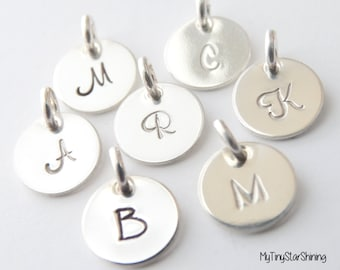 SILVER Initial Charm Initial Pendant Personalized Initial Charms Sterling Silver Initial Jewelry handstamped initial charm Tiny Letter Charm