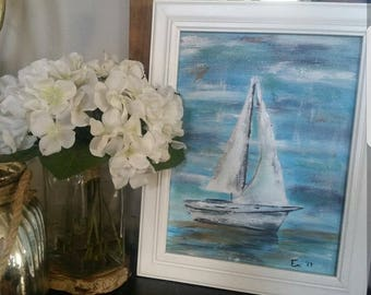 Sailboat painting,  9x12in acrylic on canvas