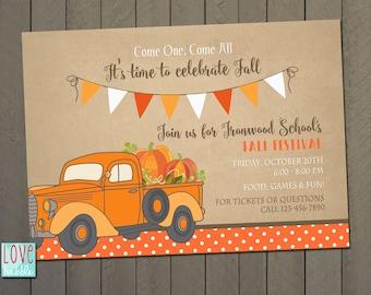 Fall Harvest Festival Carnival, Little Pumpkin Boy Baby Shower, Truck Invitation - PRINTABLE DIGITAL FILE - 5x7