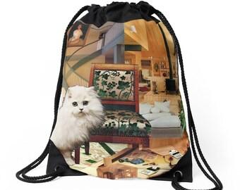 Virgo Drawstring Tote Bag - Astrology Zodiac Collage Art - August September Birthday Gift for the Cat Lover